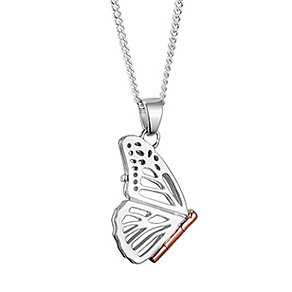 Clogau Silver & 9ct Rose Gold Large Butterfly Pendant - Product number 8746796