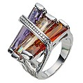 Multicoloured Glass Ring- Size P - Product number 8747784