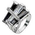 Black And Clear Stripes Ring- Size P - Product number 8747792
