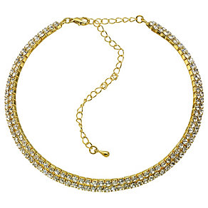 2 Row Gold Coloured Crystal Choker - Product number 8748152