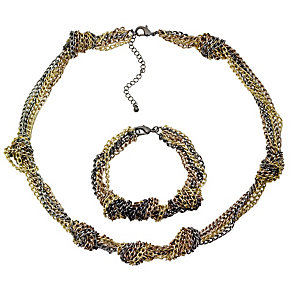 Multi Tone Knotted Bracelet and Necklet Set - Product number 8748373