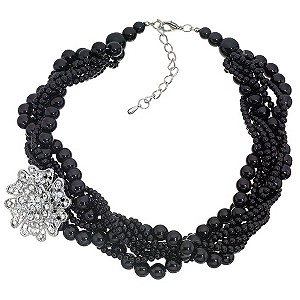 Black Multi Pearl Diamante Strand Necklace.