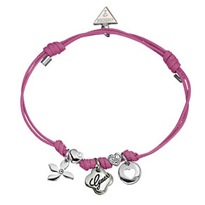 Guess Three Charm Pink Adjustable Bracelet - Product number 8748608