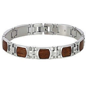 Stainless Steel Diamond Wood Bracelet - Product number 8778019
