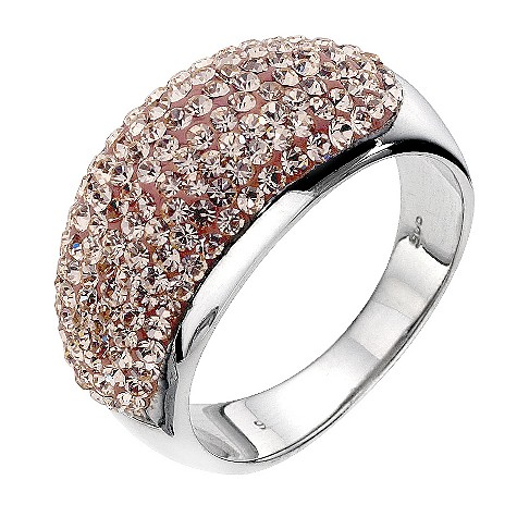Silver peach crystal ring