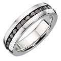 Men's Stainless Steel and Black Cubic Zirconia Ring - Product number 8781370