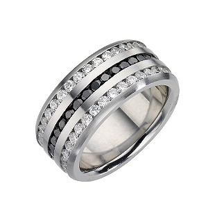 Men's Stainless Steel Black and White Cubic Zirconia Ring - Product number 8781621