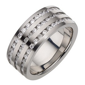 Stainless Steel Cubic Zirconia Three Row Ring