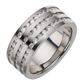 Stainless Steel Cubic Zirconia Three Row Ring - Product number 8783756