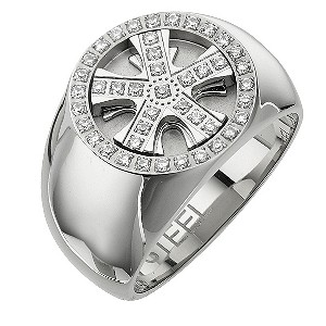 Stainless Steel Cubic Zirconia Wheel Ring