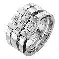 Stainless Steel Cubic Zirconia Grid Ring - Product number 8784140