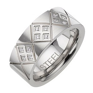Stainless Steel Cubic Zirconia Patterned Ring