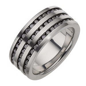 Stainless Steel Black Cubic Zirconia Three Row Ring