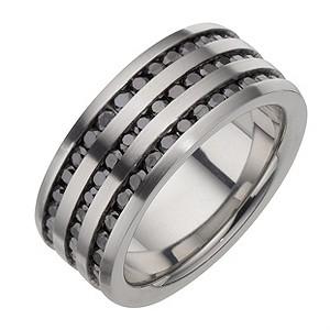 Stainless Steel Black Cubic Zirconia Three Row Ring