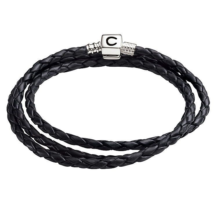 "Chamilia silver & black plaited wrap 22.2"" bracelet - Product number 8785740"