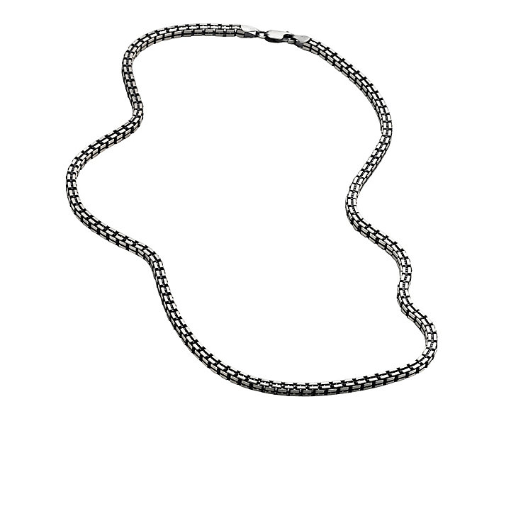 Men's oxidised sterling silver box chain - Product number 8787468