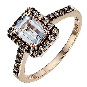 LeVian 14ct Strawberry Gold Sea Blue Aquamarine Ring - Product number 8788294
