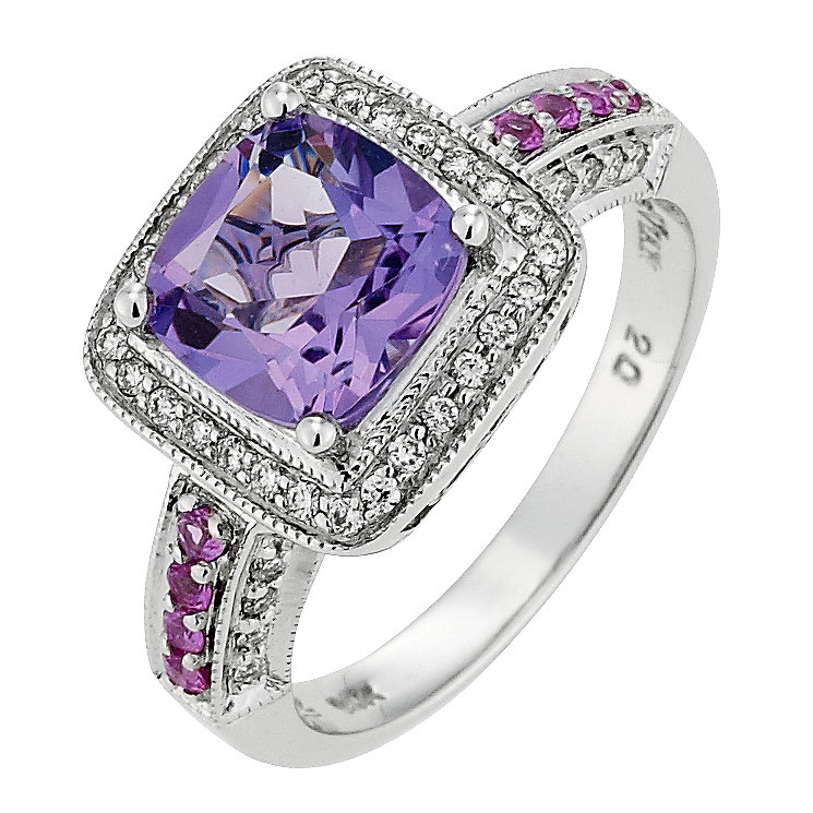 Le Vian 14ct Vanilla Gold 25pt carat diamond & amethyst ring - Product number 8789088
