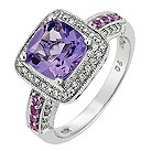 14ct white gold 0.20ct diamond pink sapphire & amethyst ring - Product number 8789088