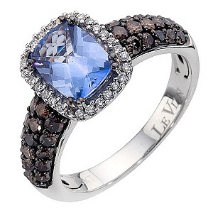 LeVian 14CT Gold Seventy Point Diamond & Blue Topaz Ring - Product number 8789347