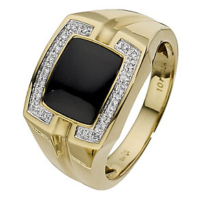 Men's 9ct yellow gold diamond & onyx large cushion ring - Product number 8791732