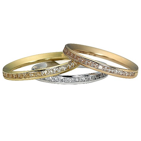 9ct gold three colour cubic zirconia channel set ring set