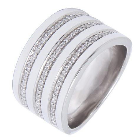 Amanda Wakeley silver three row diamond ring
