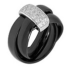 Amanda Wakeley slim black ceramic & diamond Russian ring - Product number 8801428
