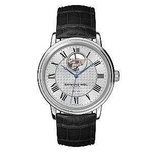 Raymond Weil men's black leather strap watch - Product number 8808201