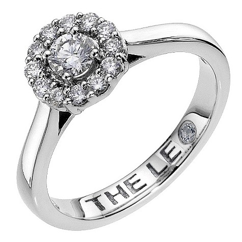 Half carat Leo Diamond platinum round halo ring