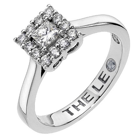 Half carat Leo Diamond platinum square halo ring