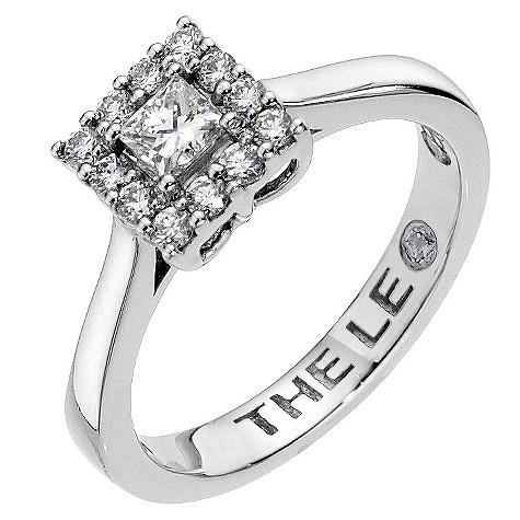 Half carat Leo Diamond platinum square halo ring