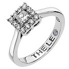 Leo platinum square halo 1/2 carat I-SI2 diamond ring - Product number 8812578