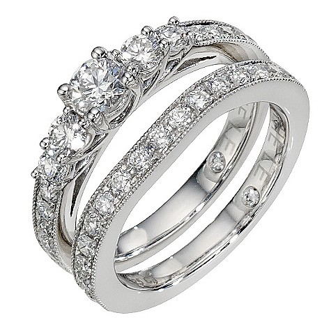 Leo platinum 1 and 1/4 carat diamond bridal ring set