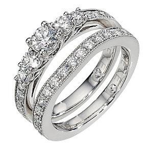 Leo platinum 1 and 0.25ct diamond bridal ring set - Product number 8812705