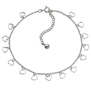 "11"" Sterling Silver Heart Anklet - Product number 8813353"