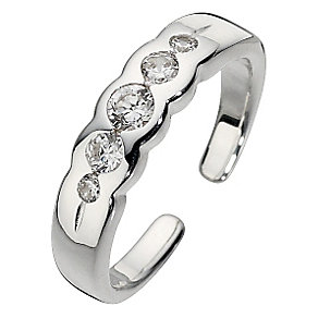 Sterling Silver Cubic Zirconia Toe Ring - Product number 8813396