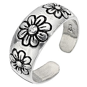 Sterling Silver Engraved Toe Ring