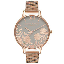 Olivia Burton Lace Detail Rose Gold Plated Ladies Grey Watch - Product number 8816999