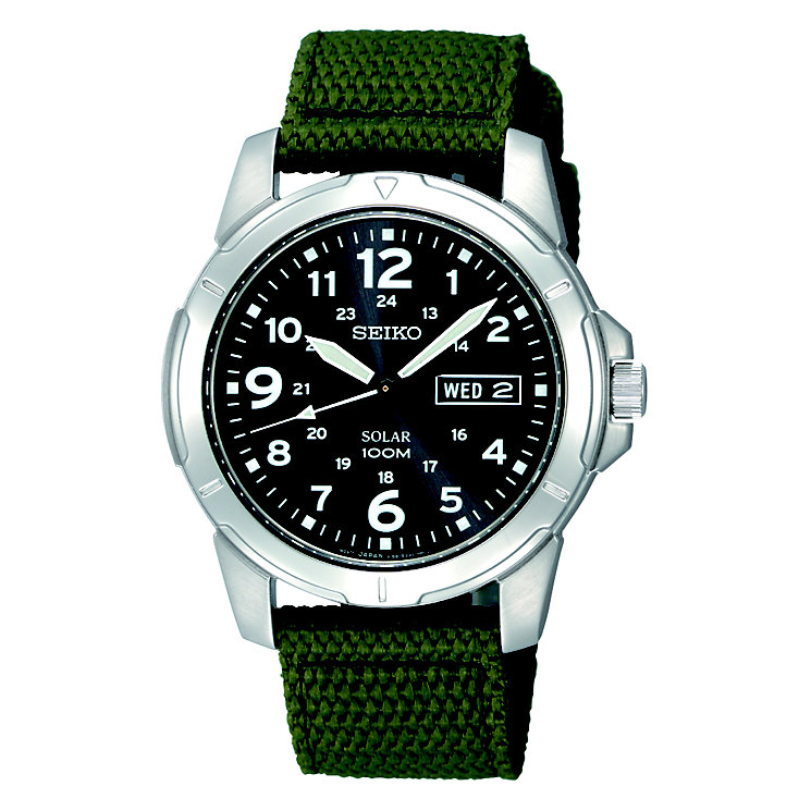 Seiko men's green canvas strap watch - Product number 8819696