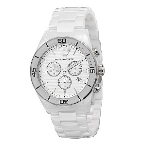 Men's Emporio Armani white ceramic bracelet watch - Product number 8821380