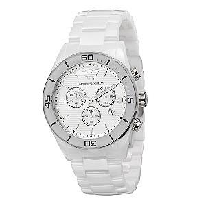 Men's Emporio Armani white ceramic bracelet watch - Product number 8821380
