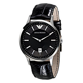 Men's Emporio Armani black leather strap watch - Product number 8821542
