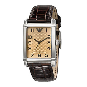 Men's Emporio Armani brown leather strap watch - Product number 8821569