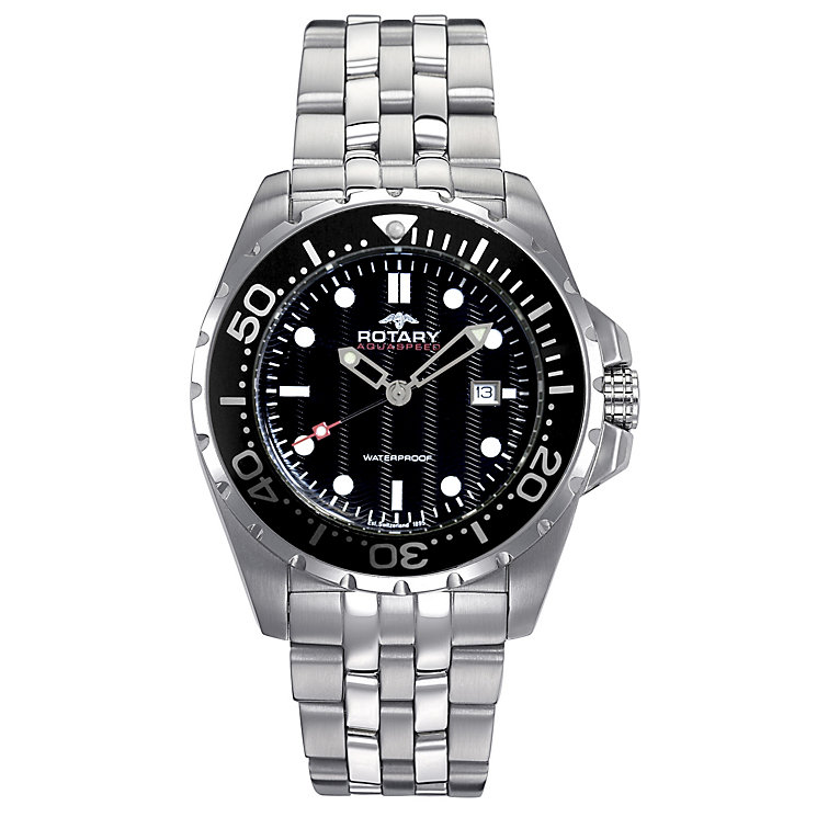Rotary Men's Stainless Steel Black Dial Watch - Product number 8825912