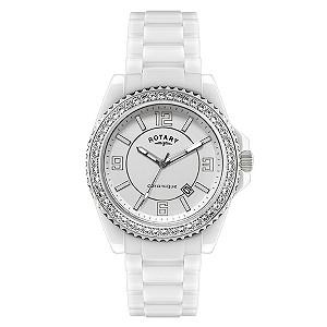 Rotary Ceramique Stone Set Bracelet Watch