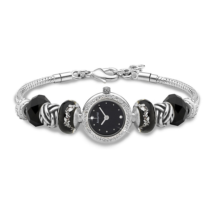 Charmed by Accurist Stone Set Black Bead Watch - Product number 8831572