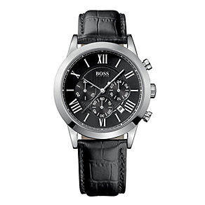 Hugo Boss men's black leather strap watch - Product number 8836752