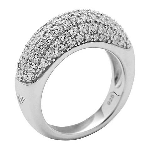 Emporio Armani silver pave stone set ring