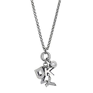 DKNY Crystal And Stainless Steel Logo Necklace